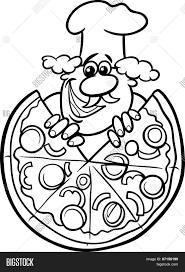 Italian Pizza Cartoon Coloring Vector & Photo   Bigstock