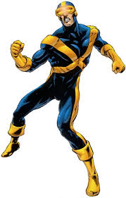cyclops of the x men dark blue costume with gold pect x