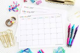 free printable 2017 calendar from just a girl and her blog