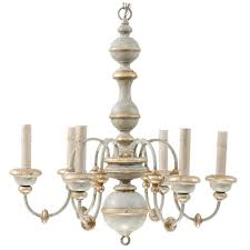 italian painted wood chandelier with pretty light blue grey gold and silver hues for