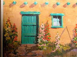 santa fe door 1 oil painting by e w strother