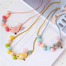 Kids Children Girl Necklace <b>Cute Cartoon</b> Fabric Bear Flower ...