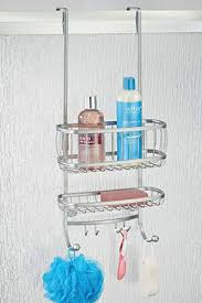 mdesign over the door shower caddy for shampoo conditioner soap silver