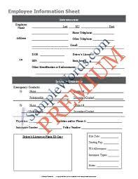 Employee Information Data Sheet Premium