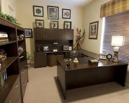 decoration homey small office with trendy black wall cabinet ideas and beautiful dark brown desk apply brilliant office decorating ideas