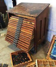 antique 1930 s hamilton mfg letterpres printer s cabinet slanted top l k