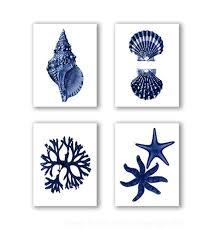 coastal wall decor navy blue wall art set of 4 beach decor seas starfish coastal wall art beach bathroom wall decor
