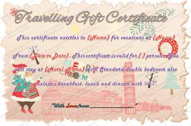 Holiday Gift Certificate Holiday Travel Gift Certificate Template