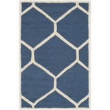 safavieh cambridge collection cam144g handcrafted moroccan geometric navy blue and ivory premium wool area rug