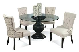 dining set with upholstered chairs 5 piece contemporary round gl table and upholstered chairs set better dining