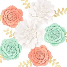 Paper Flower Wedding Centerpieces 3d Paper Flower Decorations Giant Paper Flowers Large Handcrafted Paper Flowers Mint Coral White Set Of 6 For Wedding Backdrop Bridal Shower