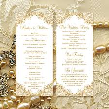 wedding reception program templates free download wedding ceremony program template vintage gold