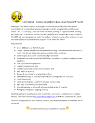 job posting special education educational assistant seea seea job posting page 001