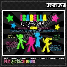 Dance Invitation Ideas Neon Dance Party Invitations Printable Glow In The Dark Ticket