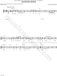 color my world sheet music