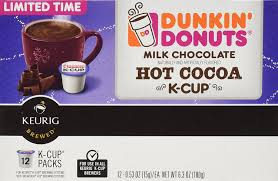 dunkin donuts milk chocolate hot cocoa k cups cocoa for keurig k cup brewers 12 count amazon co uk kitchen home