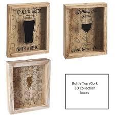 wooden wine champagne cork beer bottle cap 3d collection box storage display