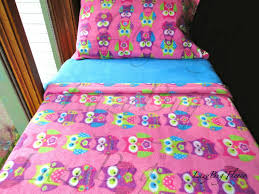 image of owl toddler bedding pink