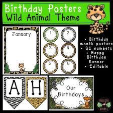 Wild Animal Jungle Birthday Charts Posters Editable