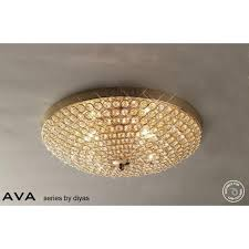 ava 4 light flush crystal ceiling fitting in french gold finish