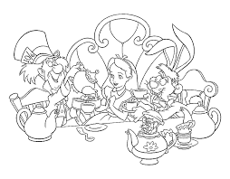 apazing to print alice in wonderland tea party coloring pages for