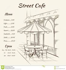 restaurant exterior drawing. Plain Drawing Hand Drawn Street Cafe Background Menu Design Sketch Restaurant City  Exterior Architecture Vector Illustration And Restaurant Exterior Drawing E
