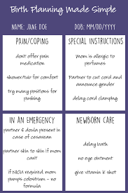 Simple Birth Plan Worksheet When Writing A Birth Plan Its Important To Keep Your List