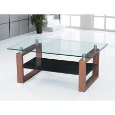 ... Coffee Table, Outstanding Bown Rectangle Modern Wood Coffee Table Glass  Top With Shelf Design Ideas ...