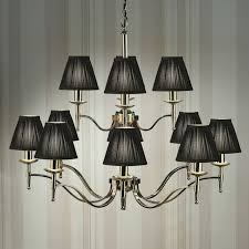 nickel 12 light chandelier with black shades