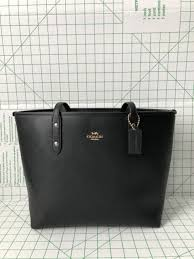 Coach F58846 Crossgrain Leather Zip Top City Tote Shoulder Bag in Black