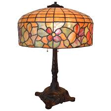 tiffany style leaded glass table lamp by bradley and hubbard for at 1stdibs