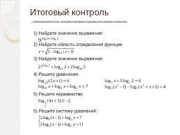 Итоговый контроль по теме Логарифмическая функция  Итоговый контроль Контрольная работа по теме Логарифмическая функция Логар