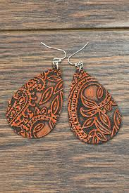 jchronicles tooled leather earrings front cropped image