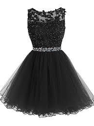 Tideclothes Short Beaded Prom Dress Tulle Applique ... - Amazon.com