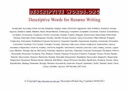 Adjectives For Resumes Descriptivewords Resume Writing Newest With