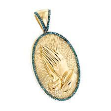 religious jewelry 10k gold blue diamond praying hands pendant 0 36ct yellow image