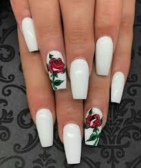 White Rose Nail Design Loving Red Rose Nail Art On White Nail Polish In 2020