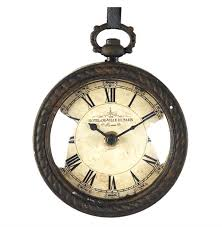 pocket watch style vintage french rustic ribbon round wall clock kathy kuo home view full size