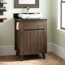 Teak Vanity Bathroom Home Bathroom 24 Antioch Teak Vessel Sink Vanity Dark Gray