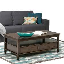 simpli home warm shaker coffee table in brown