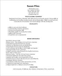 Resume Templates: Food Pantry Volunteer