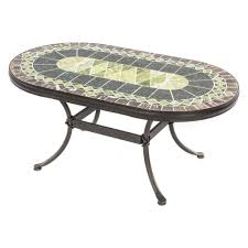 beautiful mosaic oval outdoor coffee table with cast iron base