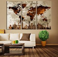 watercolor world map canvas print large world map wall art brown world map canvas on world map wall art canvas with watercolor world map canvas print large world map wall art brown