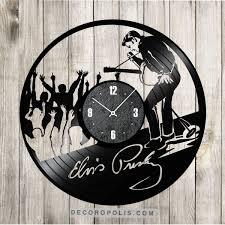 elvis presley wall art clock vinyl record gift on wall art using vinyl records with elvis presley wall art clock vinyl record gift decoropolis