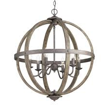 progress lighting keowee collection 24 13 in 6 light artisan iron orb chandelier with elm