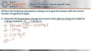 chemistry practice problems heat and specific heat