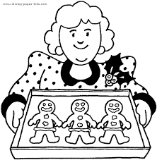 Small Picture Mom with Gingerbread men color page Christmas Coloring pages