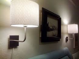 appealing plug in wall lamps for bedroom two sets of drum lamp shades and wall paintings
