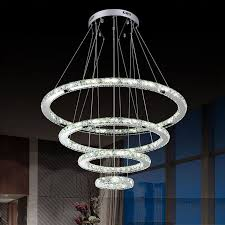 dimmable led crystal chandeliers lights remote control pendant lamp fixtures with 4 ring