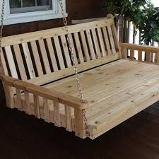 a l furniture fanback 4 foot cedar outdoor swing bed stained